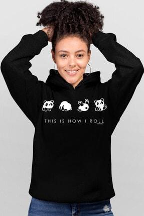 Rock & Roll34 Panda Taklası Siyah Kapşonlu Kadın Sweatshirt