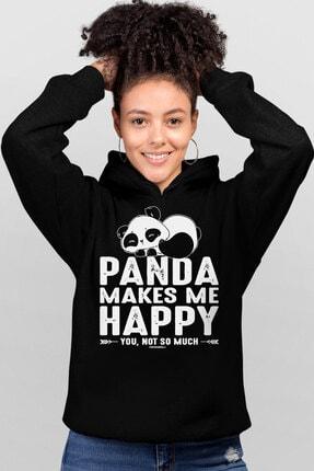 Rock & Roll34 Mutlu Panda Siyah Kapşonlu Kadın Sweatshirt