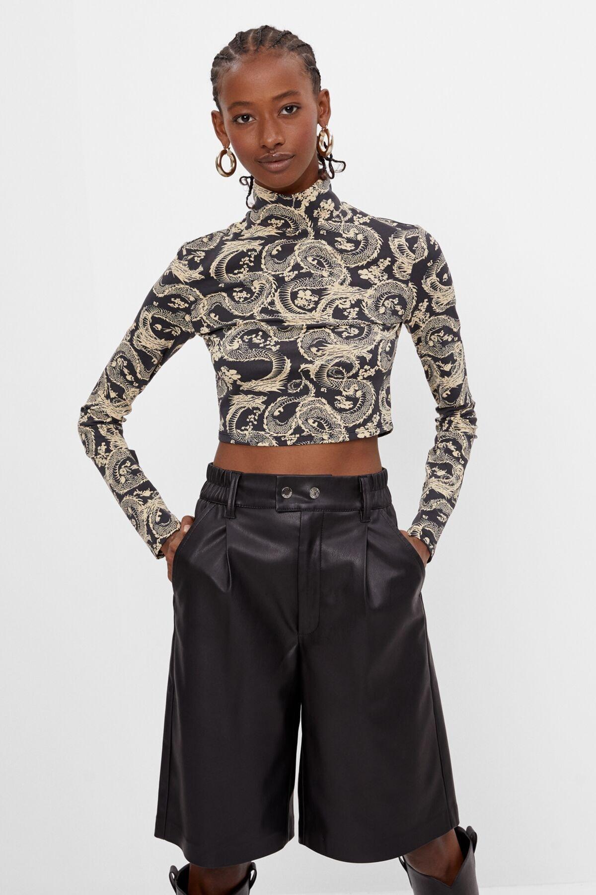 Bershka Kadın Siyah Uzun Kollu T-Shirt 01966256