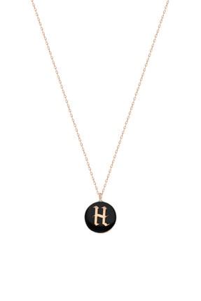 Silver Bazaar Kadın Siyah Mineli Gümüş H Harfi Kolye