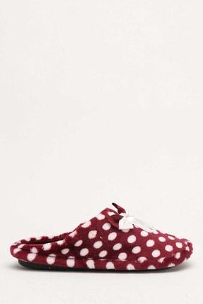 Ayakkabı Modası Kadın Bordo Puantiyeli Ev Terliği