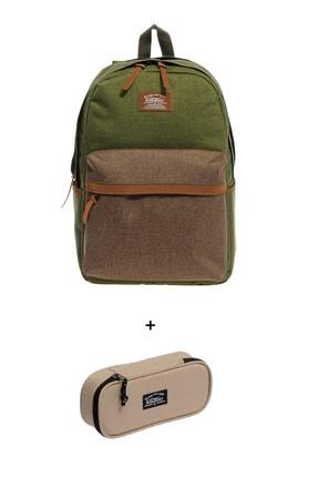 KAUKKO Kırtasiye Kulübü - Çanta Ve Kalem Kutu Seti 12-yeşil-kahverengi