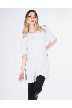 Vision Kadın Beyaz Yırtmaç Detaylı Basic Tişört