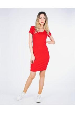 Vision Kadın Kırmızı Şerit Detaylı Elbise