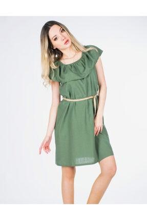 Vision Kadın Haki Hasır Kemerli Elbise