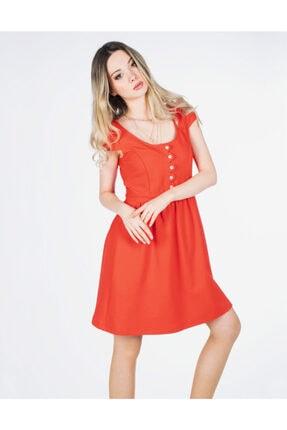 Vision Kadın Nar Çiçeği Düğmeli Elbise