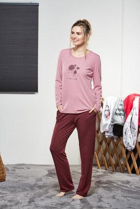 PJS PİJAMA Kadın Pembe Çiçek Desenli Pijama Takımı