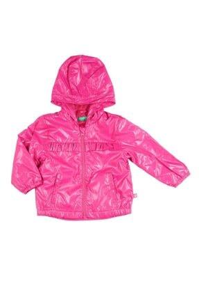 Benetton Kız Çocuk Pembe Benetton Logolu Yağmurluk