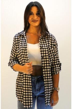 ERDEM Kadın Ekru Kazayağı Desen Gömlek