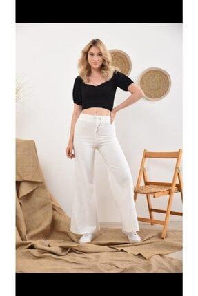 İroni Beyaz Yüksek Bel Beli Lastikli Bol Paça Pantolon