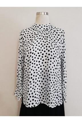 Vekem Kadın Siyah Dik Yaka Rahat Kesim Bluz