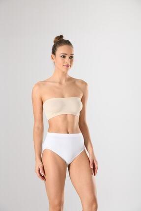 Miss Fit Kadın Beyaz Dikişsiz Yüksek Bel Bato Slip Külot Basic Seamless