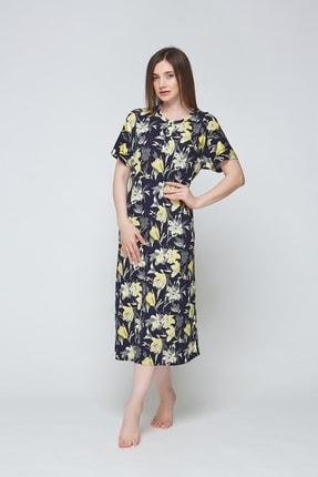 ESTİVA Kadın Sarı Çiçekli Viskon Uzun Günlük Elbise