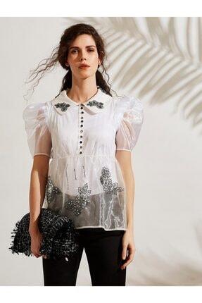 Vekem Kadın Beyaz Nakış Detaylı Organze Gömlek 8106-0023