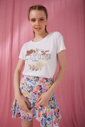 Fashion Friends Kadın Beyaz Bisiklet Yaka Baskılı T-shirt 21y0507b1