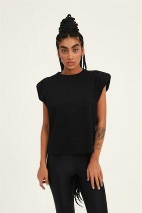 Quzu Kadın Siyah Vatkalı T-shirt Siyah