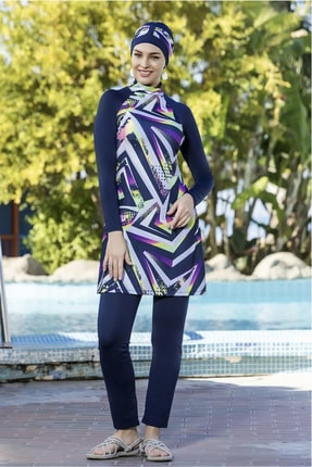 Armes Kadın Lacivert Geometrik Desenli Uzun Kollu Likralı Haşema