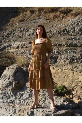 Vekem Kadın Haki Rahat Gipeli Fiesta Elbise