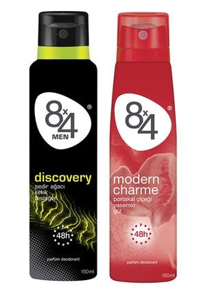 8x4 Discovery Deodorant Erkek 150 ml + Modern Charme Deodorant Kadın 150 ml