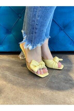 Kriste Bell Kadın Şeffaf Detaylı Sarı Topuklu Terlik