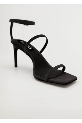Mango Kadın Siyah Bantlı Deri Topuklu Sandalet
