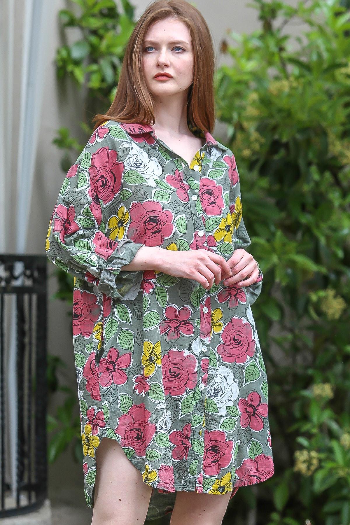 Chiccy Kadın Yeşil İtalyan Gül Desenli Keten Cepli Gömlek Tunik Elbise M10160000EL94824