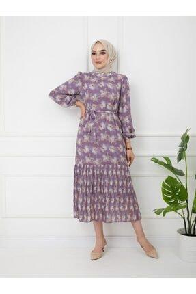 Olcay Eteği Plise Detaylı Çiçek Desenli Elbise Lila 9819-e