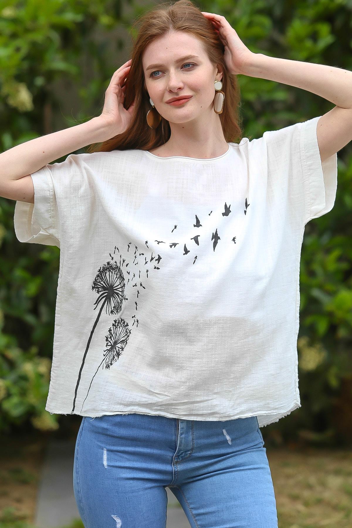 Chiccy Kadın Beyaz Karahindiba Çiçeği Baskılı Salaş Dokuma Bluz C10010200BL95225