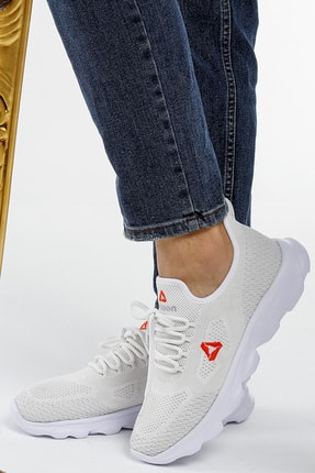 Letoon Unisex Beyaz Turuncu Bağcıklı Sneaker