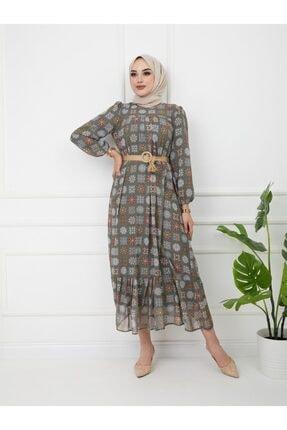 Olcay Robası Ve Eteği Büzgülü Hasır Kemerli Elbise Haki 9795-e