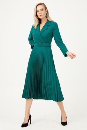 Moda İlgi Kadın Yeşil Yaka Pilisoley Elbise