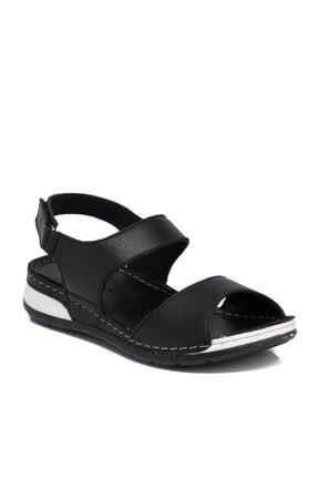 Tergan Siyah Deri Kadın Sandalet 65690a23