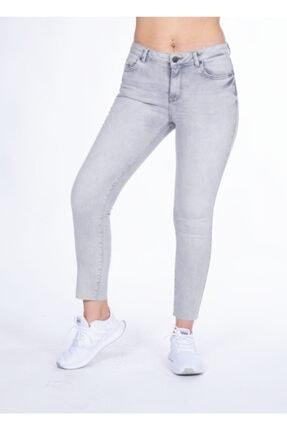 Vision Kadın Gri Yüksek Bel Lazer Kesim Jean