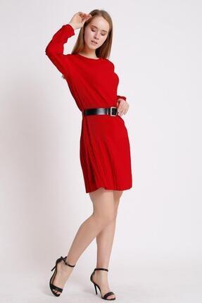 Deppoist Piliseli Kemerli Mini Elbise
