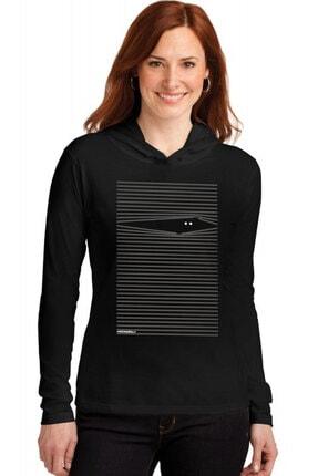 Rock & Roll34 Kadın Siyah Noluyo Ya Kapşonlu Uzun Kollu T-shirt