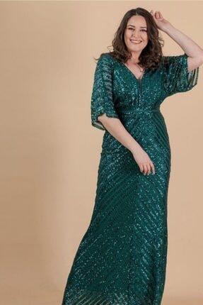 Kadın Zümrüt Yeşili Çizgi Payetli Büyük Beden Abiye 37346