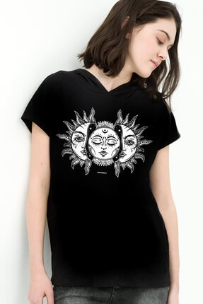 Rock & Roll34 Kadın Siyah Ay Güneş Kapşonlu Kısa Kollu T-shirt