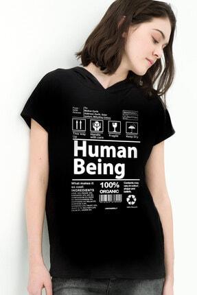 Rock & Roll34 Kadın Siyah Ben Buyum Kapşonlu Kısa Kollu T-shirt