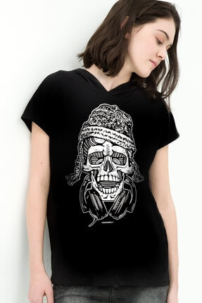 Rock & Roll34 Kadın Siyah Nepalli Kurukafa Kapşonlu Kısa Kollu T-shirt