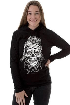 Rock & Roll34 Kadın Siyah Nepalli Kurukafa Kapşonlu Uzun Kollu T-shirt
