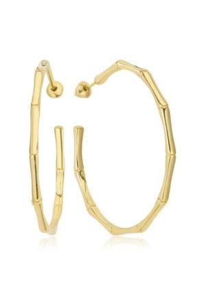 Valori Jewels Bambu Modeli, Altın Rengi Gümüş Halka Küpe