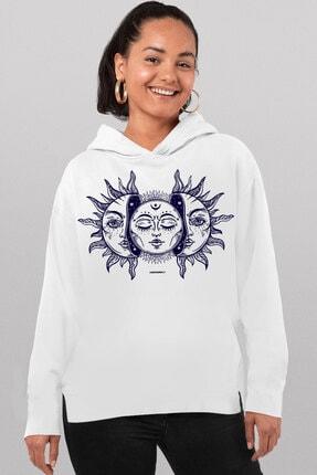 Rock & Roll34 Kadın Beyaz Ay Güneş Arkası Uzun Yanları Yırtmaçlı Kapşonlu Sweatshirt