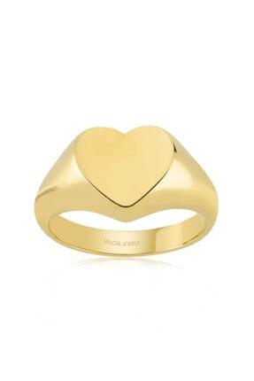 Valori Jewels Parlak Kalp, Altın Rengi Gümüş Yüzük