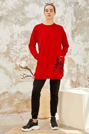 TOMMY LIFE Kadın Kırmızı Siyah Yazı Nakışlı Sıfır Yaka Tunik Takım