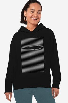 Rock & Roll34 Kadın Siyah Noluyo Ya Arkası Uzun Yanları Yırtmaçlı Kapşonlu Sweatshirt