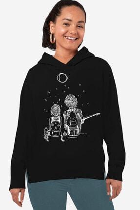 Rock & Roll34 Kadın Siyah Romans  Arkası Uzun Yanları Yırtmaçlı  Kapşonlu Sweatshirt