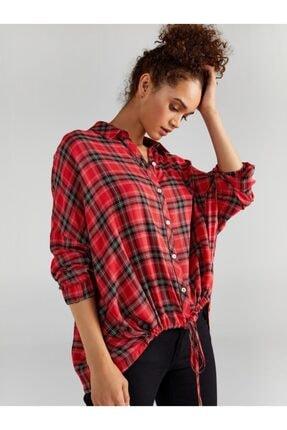 Faik Sönmez Kadın Kırmızı Simli Ekose Gömlek 61323