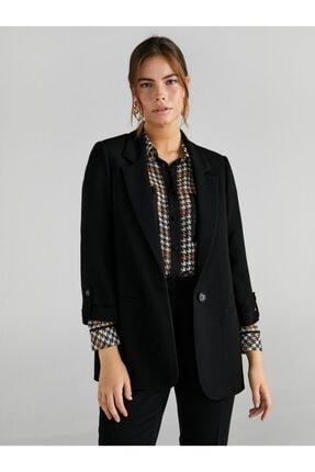 Faik Sönmez Kadın Siyah Kolları Kıvrık Blazer 61201