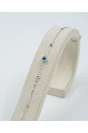 Swarovski Kadın Mavi Boncuklu Zirkon Taşlı 925 Ayar Gümüş  Bileklik