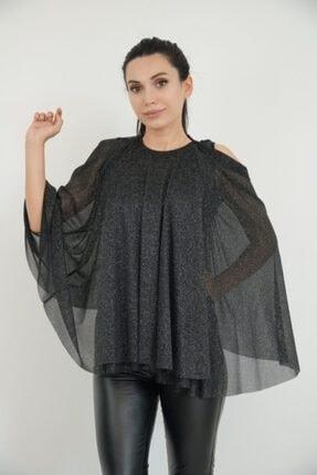 Lila Rose Kadın Siyah Pelerin Simli Bluz